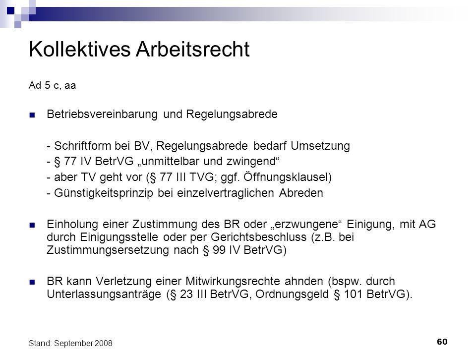 60 Stand: September 2008 Kollektives Arbeitsrecht Ad 5 c, aa Betriebsvereinbarung und Regelungsabrede - Schriftform bei BV, Regelungsabrede bedarf Ums