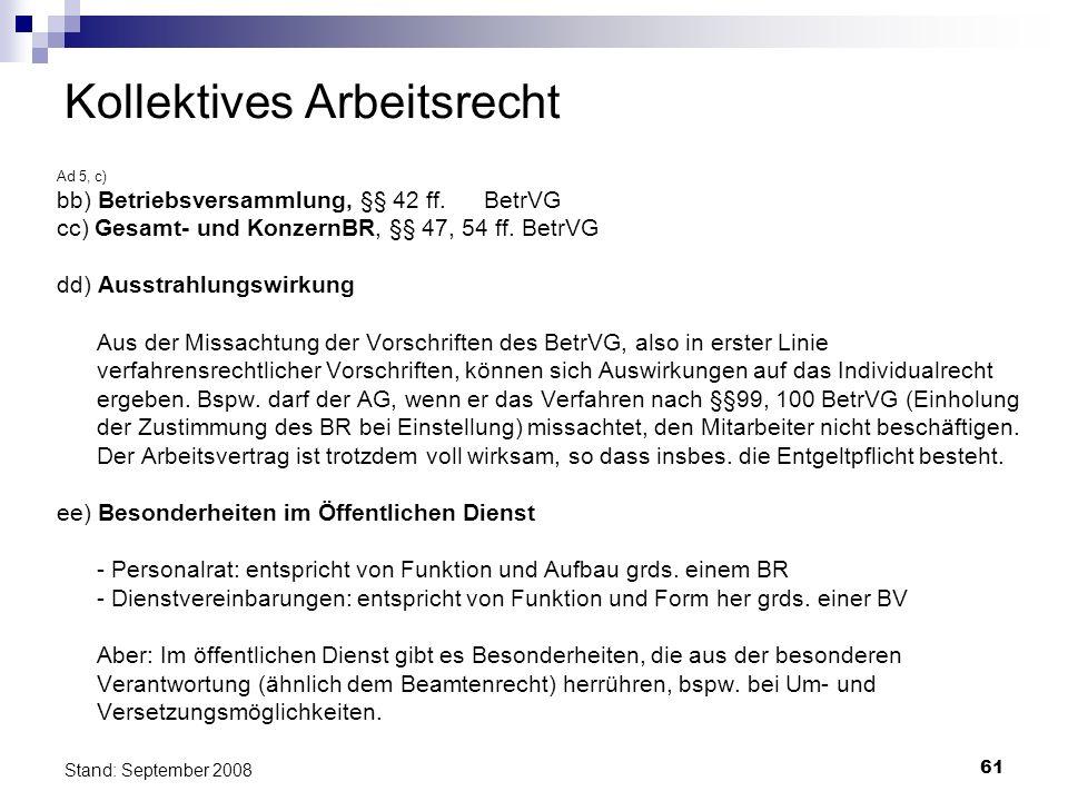 61 Stand: September 2008 Kollektives Arbeitsrecht Ad 5, c) bb) Betriebsversammlung, §§ 42 ff. BetrVG cc) Gesamt- und KonzernBR, §§ 47, 54 ff. BetrVG d