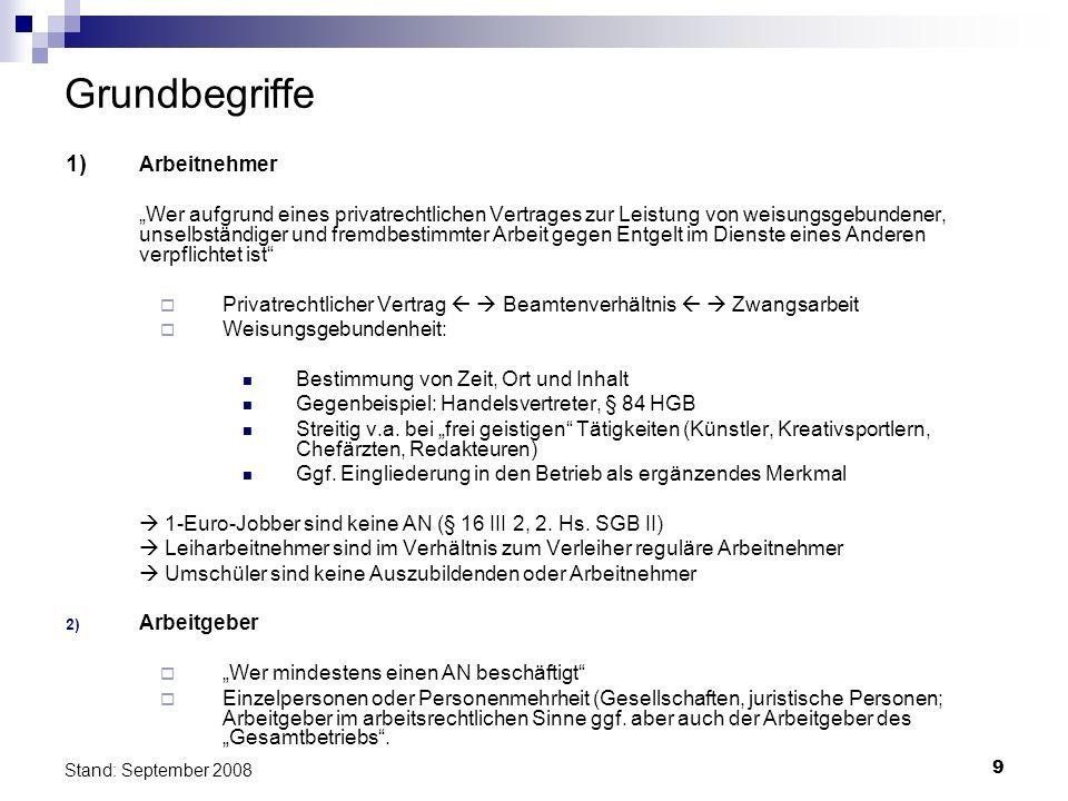 10 Stand: September 2008 Grundbegriffe 3)Bedeutung der Unterscheidung Anwendung des Arbeit(-nehmer-)rechts Rechtsweg Probleme: Scheinselbständigkeit - Ich-AGler gilt von Gesetze wegen als Selbständige (§ 7 Abs.