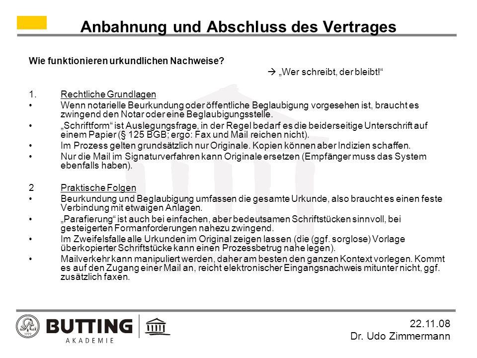 22.11.08 Dr.Udo Zimmermann Zulieferer Kaufvertrag Hersteller vertragliche Ansprüche evtl.