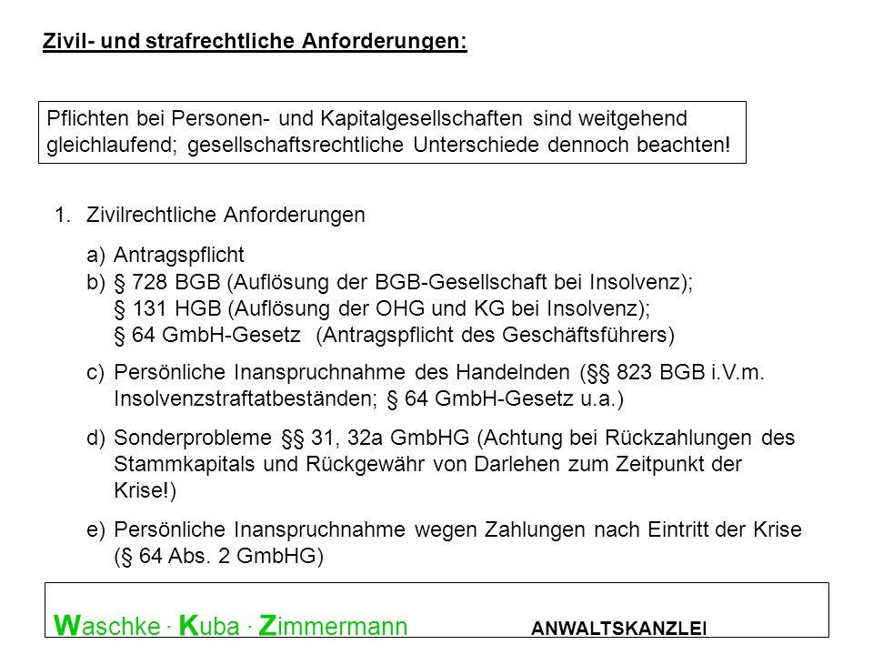 W aschke · K uba · Z immermann ANWALTSKANZLEI Überblick : Straftatbestände Zivil- und strafrechtliche Anforderungen: Pflichten bei Personen- und Kapit