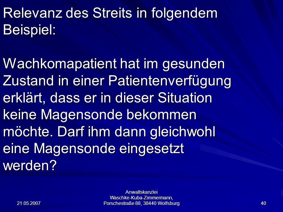 21.05.2007 Anwaltskanzlei Waschke-Kuba-Zimmermann, Porschestraße 88, 38440 Wolfsburg 40 Relevanz des Streits in folgendem Beispiel: Wachkomapatient ha