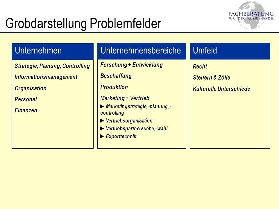 Grobdarstellung Problemfelder Unternehmen Strategie, Planung, Controlling Informationsmanagement Organisation Personal Finanzen Unternehmensbereiche F