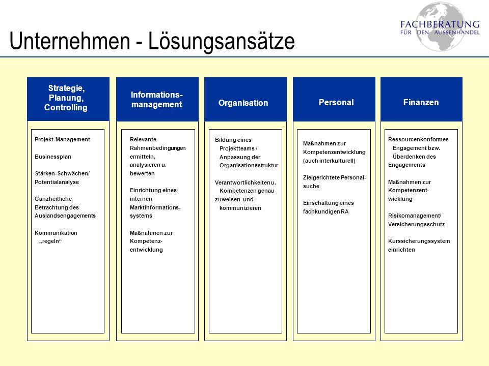 Informations- management Organisation PersonalFinanzen Strategie, Planung, Controlling Unternehmen - Lösungsansätze Projekt-Management Businessplan St