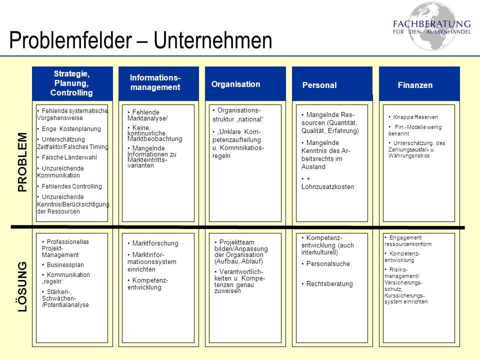 Problemfelder – Unternehmensbereiche Marketing-Mix nicht ziellandspezifisch Vertriebsorganisation zunational Partnerwahl unsystematisch Kalkulation u.
