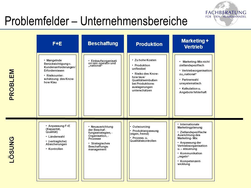 Problemfelder – Umfeld Recht Steuern & Zölle Kulturelle Unterschiede Mangelnde Kenntnis der Rahmenbedingungen Unterschätzung d.