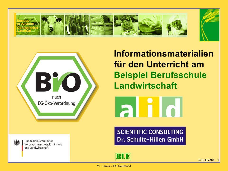 © BLE 2004 1 W. Janka - BS Neumarkt Informationsmaterialien für den Unterricht am Beispiel Berufsschule Landwirtschaft
