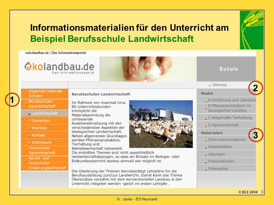 © BLE 2004 3 W. Janka - BS Neumarkt Informationsmaterialien für den Unterricht am Beispiel Berufsschule Landwirtschaft 1 2 3