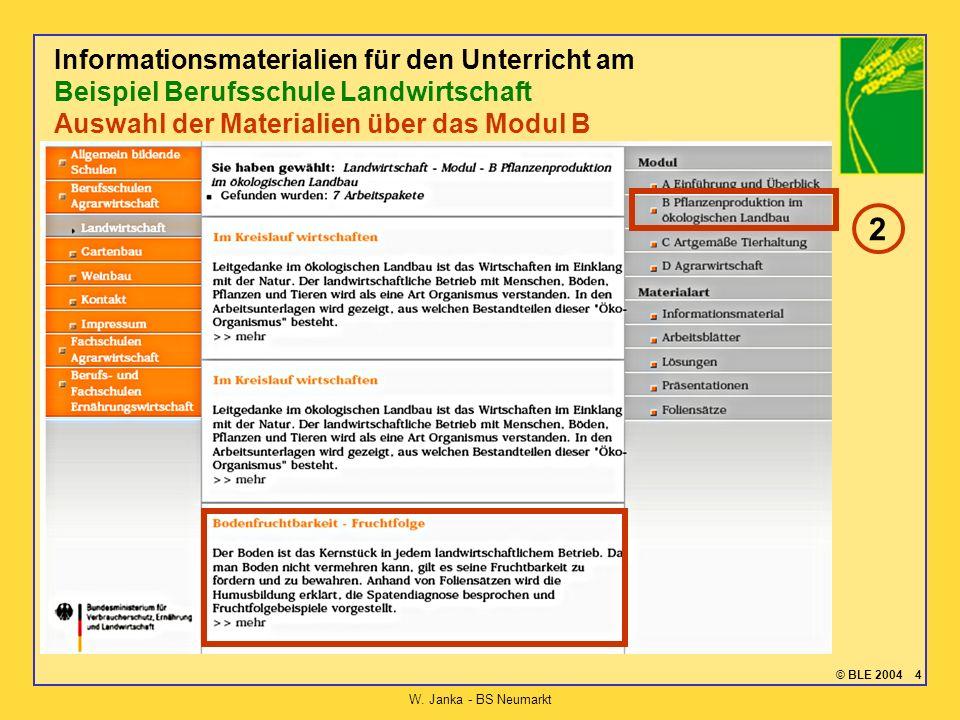 © BLE 2004 4 W. Janka - BS Neumarkt Informationsmaterialien für den Unterricht am Beispiel Berufsschule Landwirtschaft Auswahl der Materialien über da