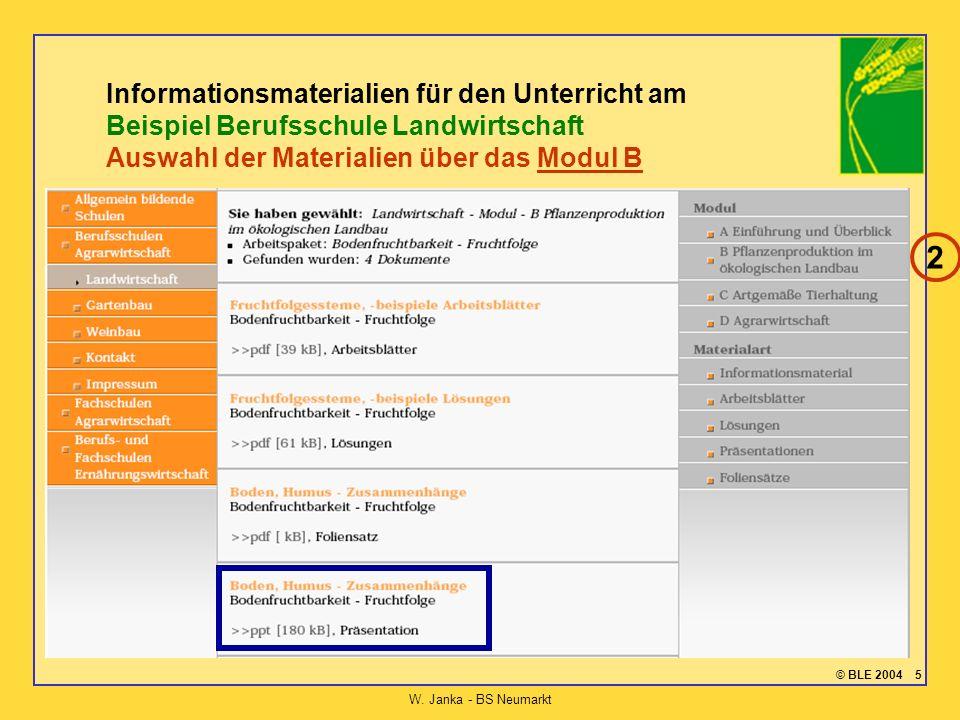 © BLE 2004 5 W. Janka - BS Neumarkt Informationsmaterialien für den Unterricht am Beispiel Berufsschule Landwirtschaft Auswahl der Materialien über da