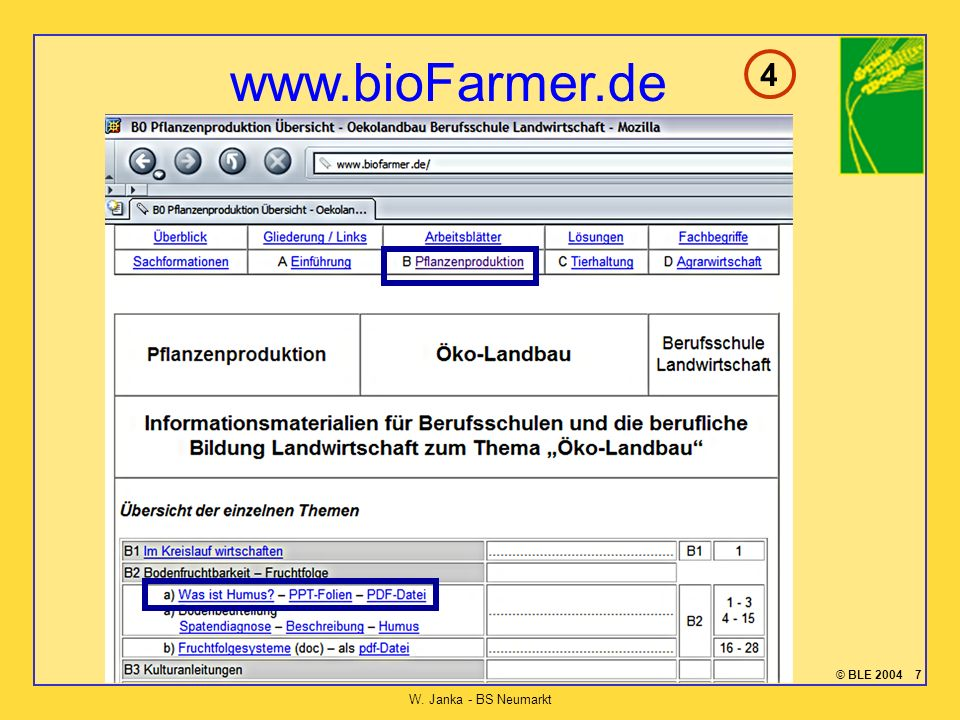 © BLE 2004 7 W. Janka - BS Neumarkt www.bioFarmer.de 4