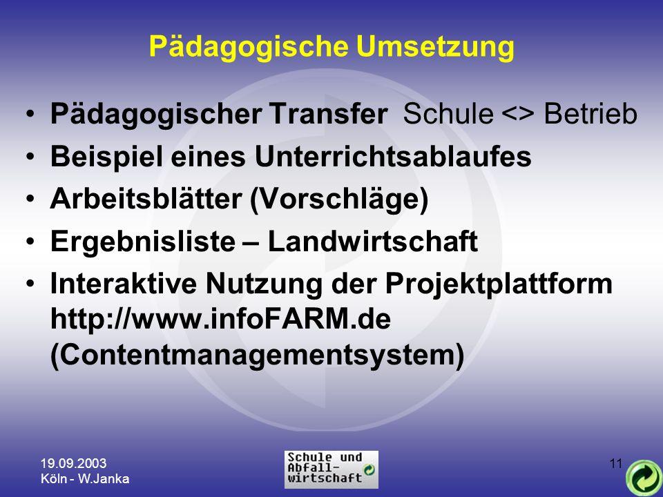 19.09.2003 Köln - W.Janka 11 Pädagogische Umsetzung Pädagogischer Transfer Schule <> Betrieb Beispiel eines Unterrichtsablaufes Arbeitsblätter (Vorsch