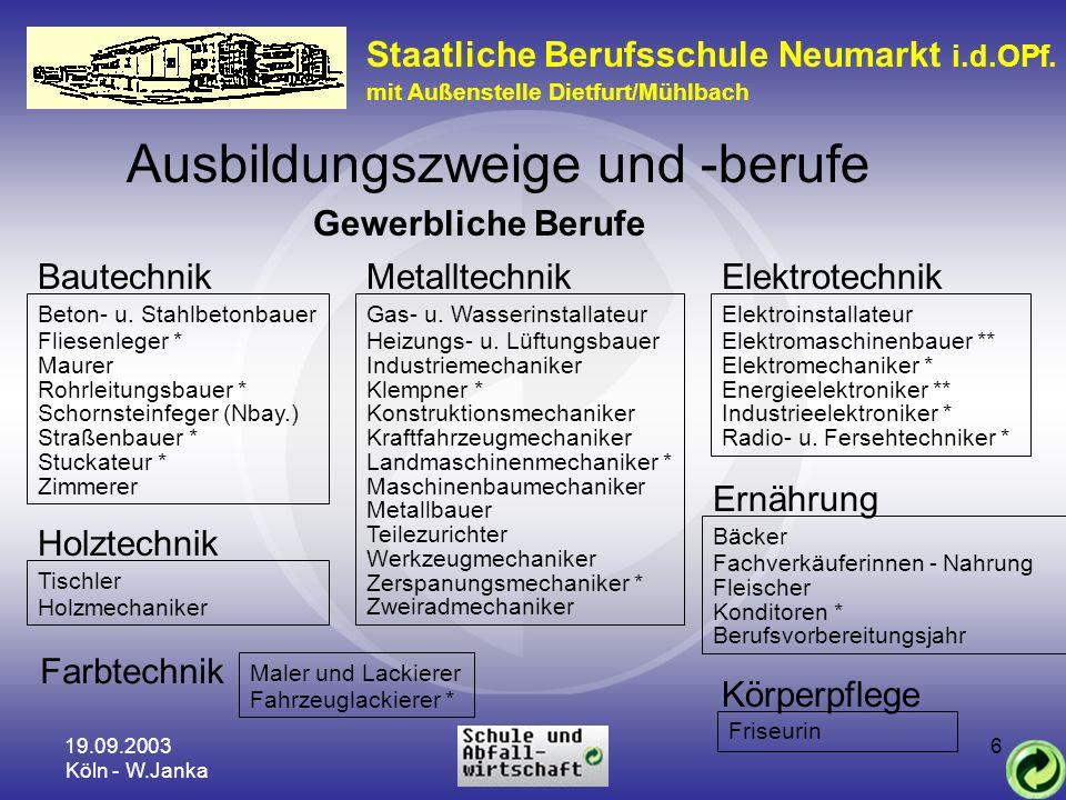 19.09.2003 Köln - W.Janka 6 Staatliche Berufsschule Neumarkt i.d.OPf. mit Außenstelle Dietfurt/Mühlbach Ausbildungszweige und -berufe Gewerbliche Beru