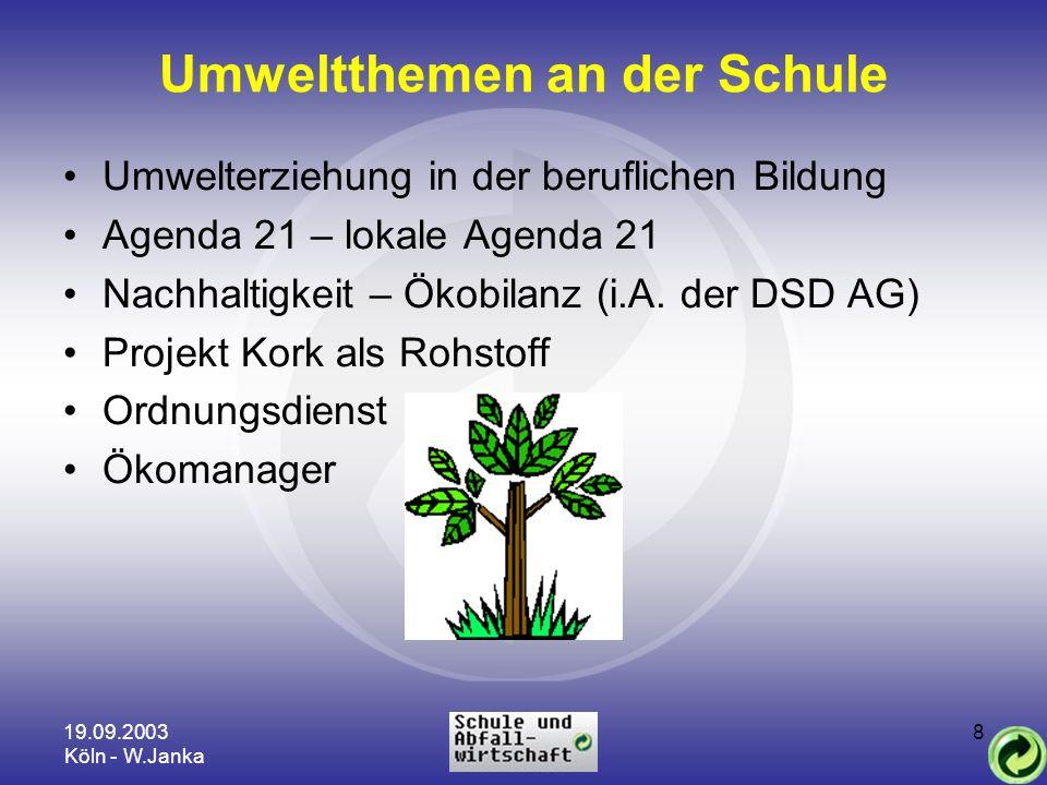 19.09.2003 Köln - W.Janka 8 Umweltthemen an der Schule Umwelterziehung in der beruflichen Bildung Agenda 21 – lokale Agenda 21 Nachhaltigkeit – Ökobil
