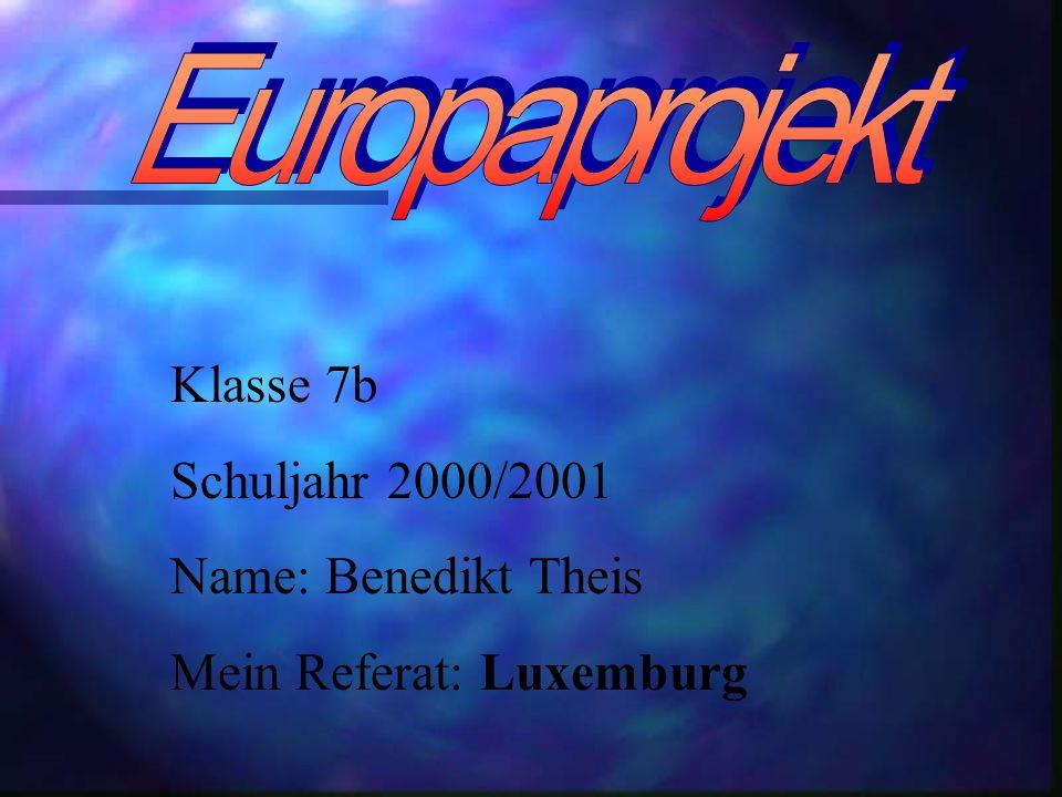 Klasse 7b Schuljahr 2000/2001 Name: Benedikt Theis Mein Referat: Luxemburg