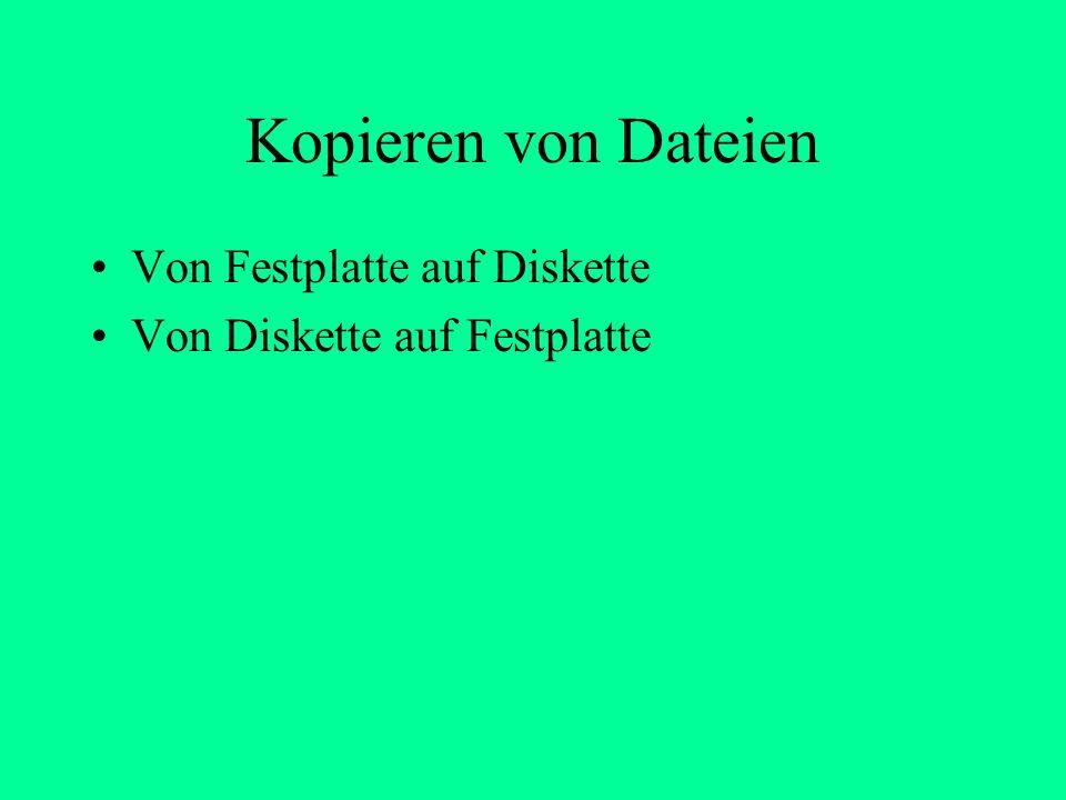 Bezeichnungen der Laufwerke a: c: d: Diskette Festplatte CD