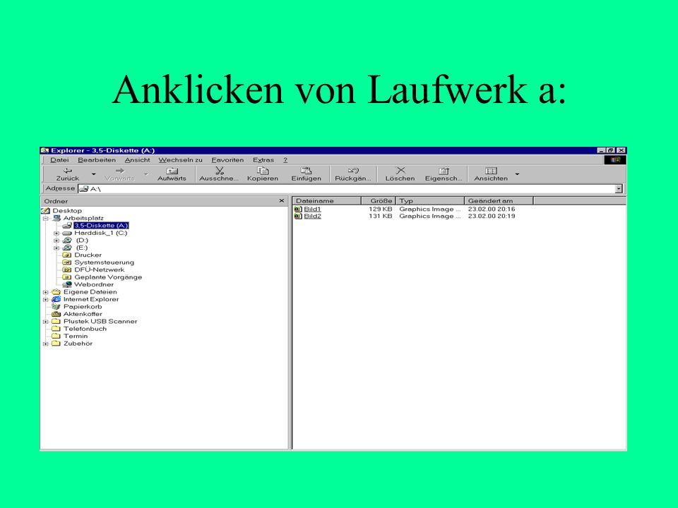 1. Welche Dateien sind auf der Diskette Laufwerk a: