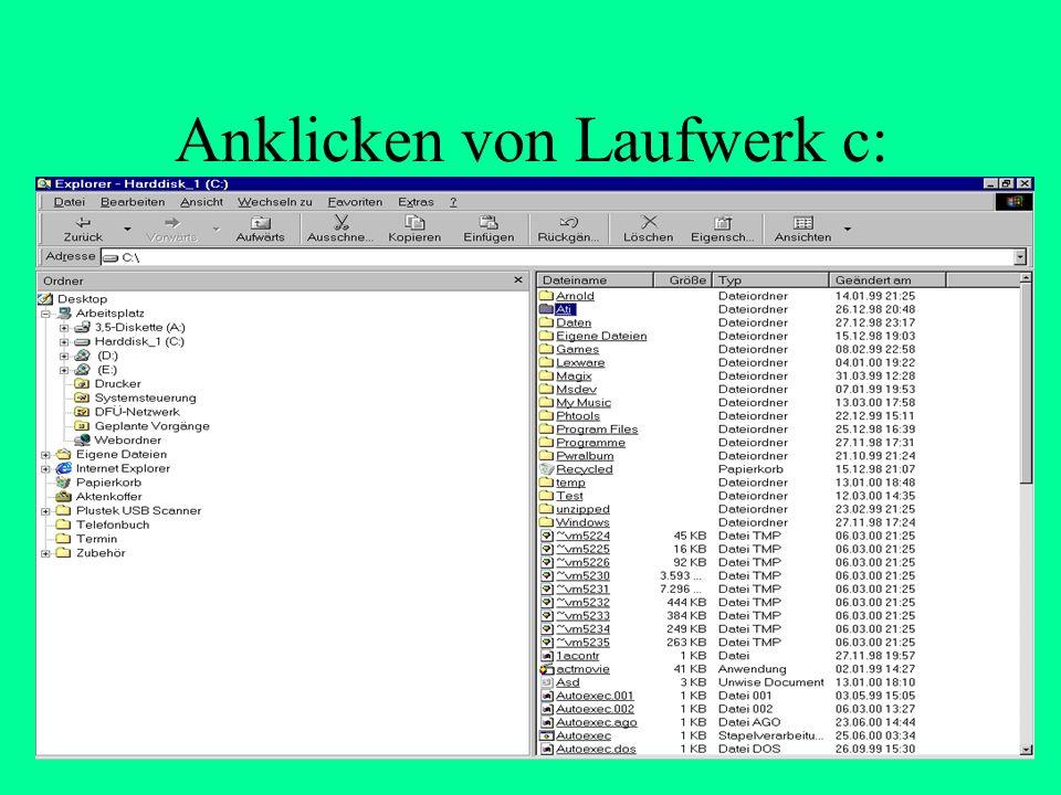 Welche Dateien sind auf der Festplatte Laufwerk c: