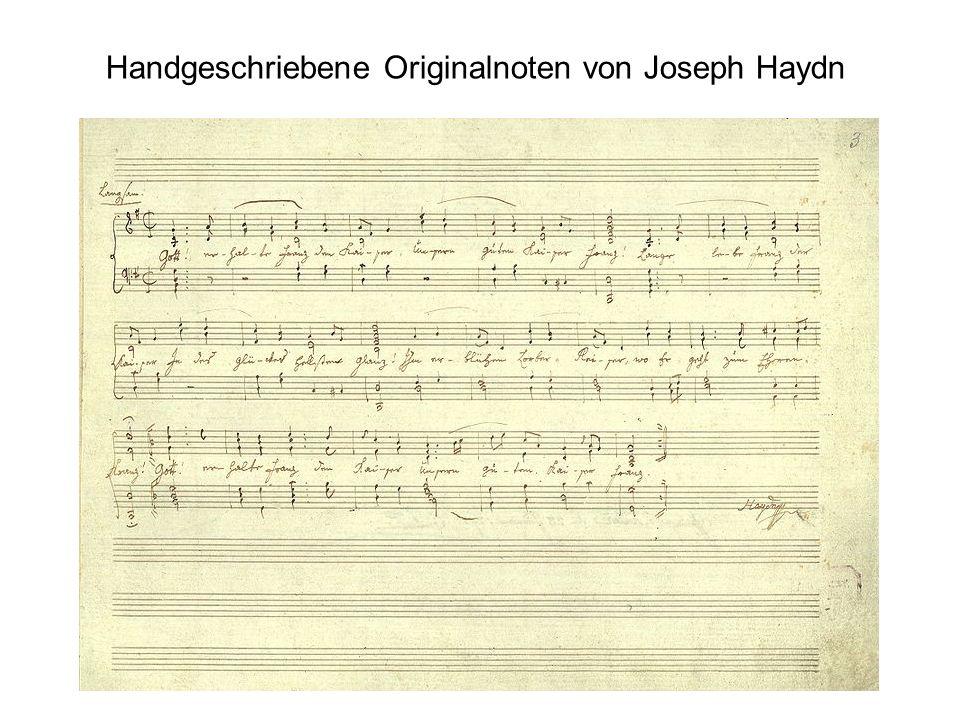 Handgeschriebene Originalnoten von Joseph Haydn