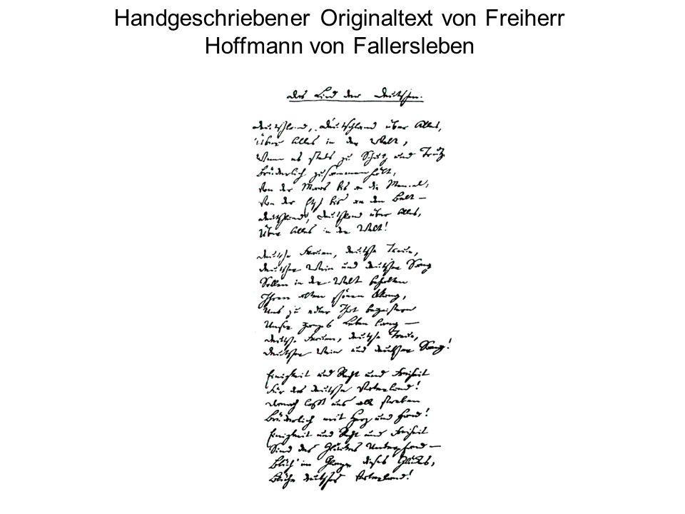 Die Noten entstanden 1797, der Text 1841 Dazwischen liegen 44 Jahre