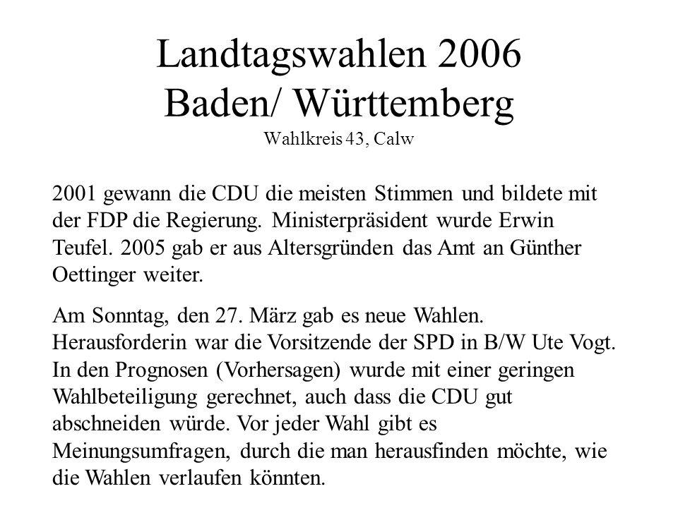 Landtagswahlen 2006 Baden/ Württemberg Wahlkreis 43, Calw 2001 gewann die CDU die meisten Stimmen und bildete mit der FDP die Regierung.