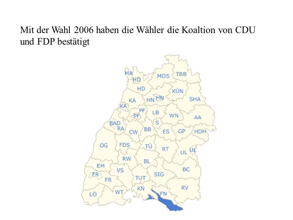 Mit der Wahl 2006 haben die Wähler die Koaltion von CDU und FDP bestätigt