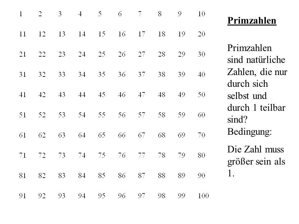 Das Sieb des Eratosthenes - oder welche Zahlen bis 100 sind Primzahlen?