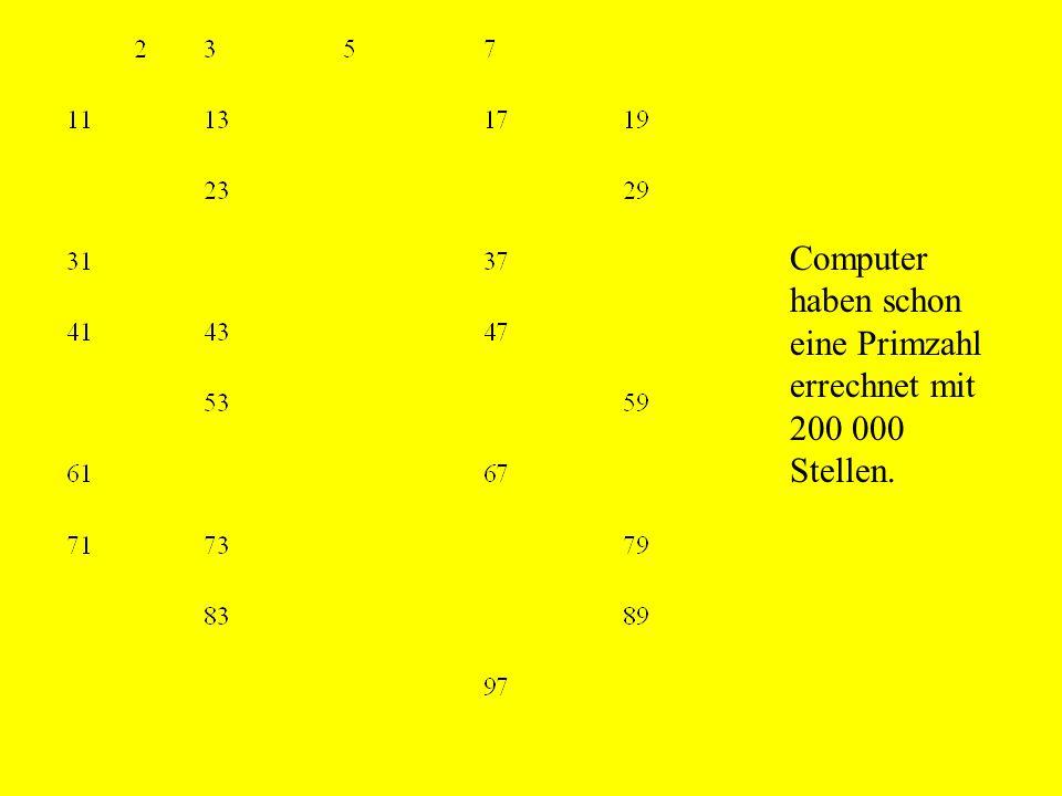 Computer haben schon eine Primzahl errechnet mit 200 000 Stellen.