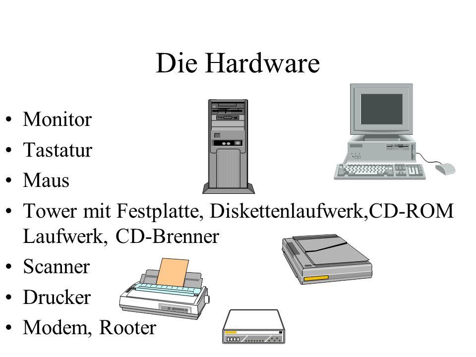 Die Hardware Monitor Tastatur Maus Tower mit Festplatte, Diskettenlaufwerk,CD-ROM Laufwerk, CD-Brenner Scanner Drucker Modem, Rooter
