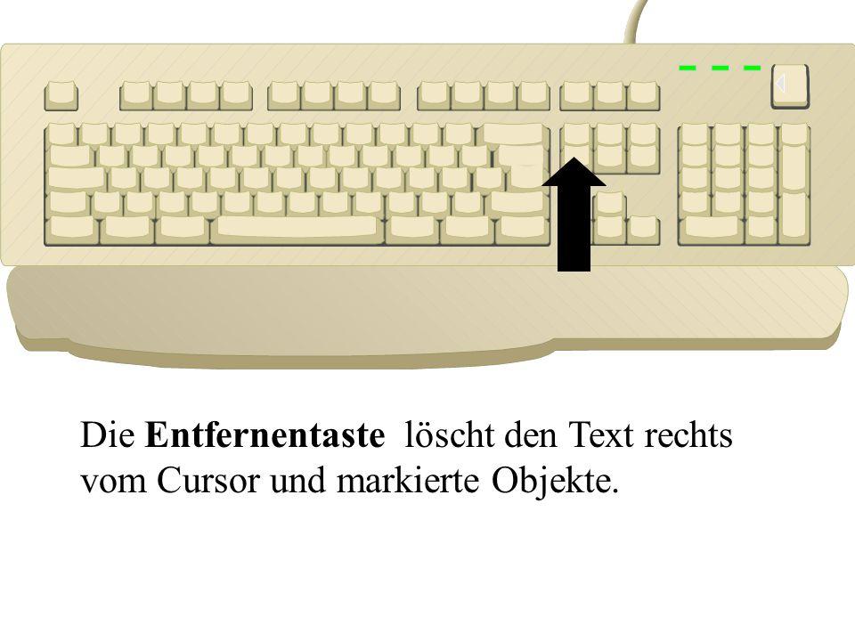Die Löschtaste löscht den Text links vom Cursor.