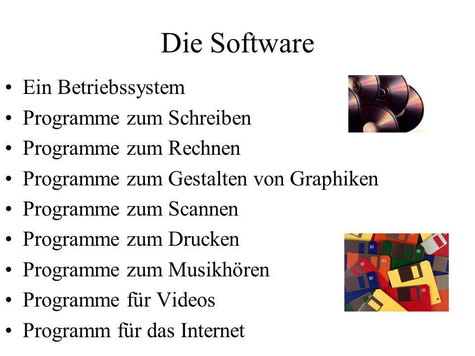 Die Software Ein Betriebssystem Programme zum Schreiben Programme zum Rechnen Programme zum Gestalten von Graphiken Programme zum Scannen Programme zum Drucken Programme zum Musikhören Programme für Videos Programm für das Internet