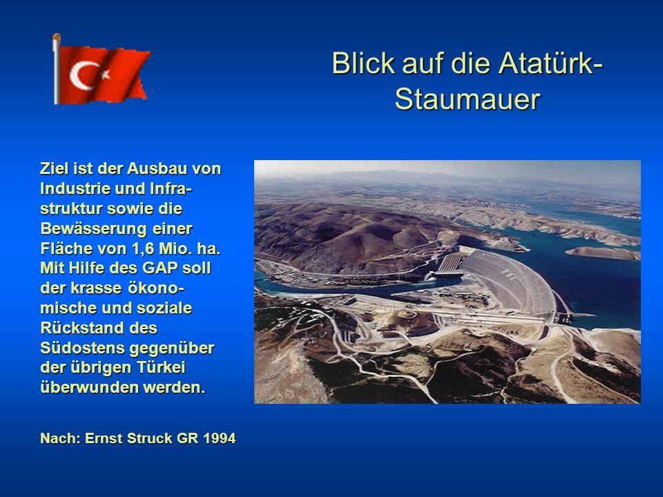 Blick auf die Atatürk- Staumauer Ziel ist der Ausbau von Industrie und Infra- struktur sowie die Bewässerung einer Fläche von 1,6 Mio. ha. Mit Hilfe d