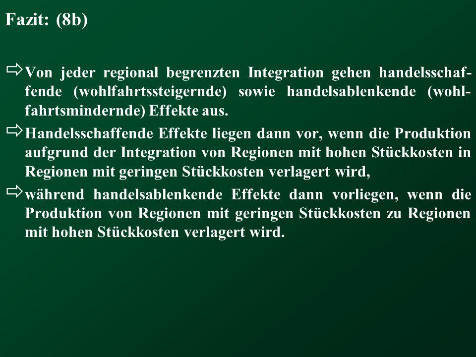 Fazit: (8b) Von jeder regional begrenzten Integration gehen handelsschaf- fende (wohlfahrtssteigernde) sowie handelsablenkende (wohl- fahrtsmindernde)