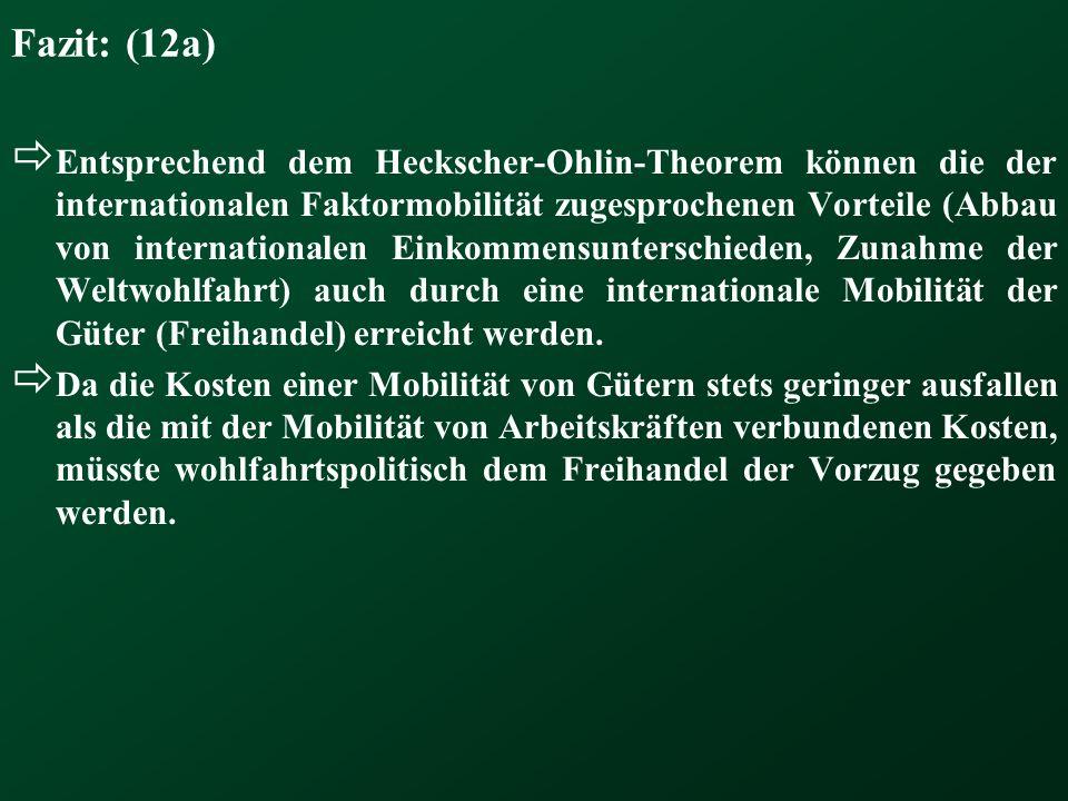 Fazit: (12a) Entsprechend dem Heckscher-Ohlin-Theorem können die der internationalen Faktormobilität zugesprochenen Vorteile (Abbau von internationale