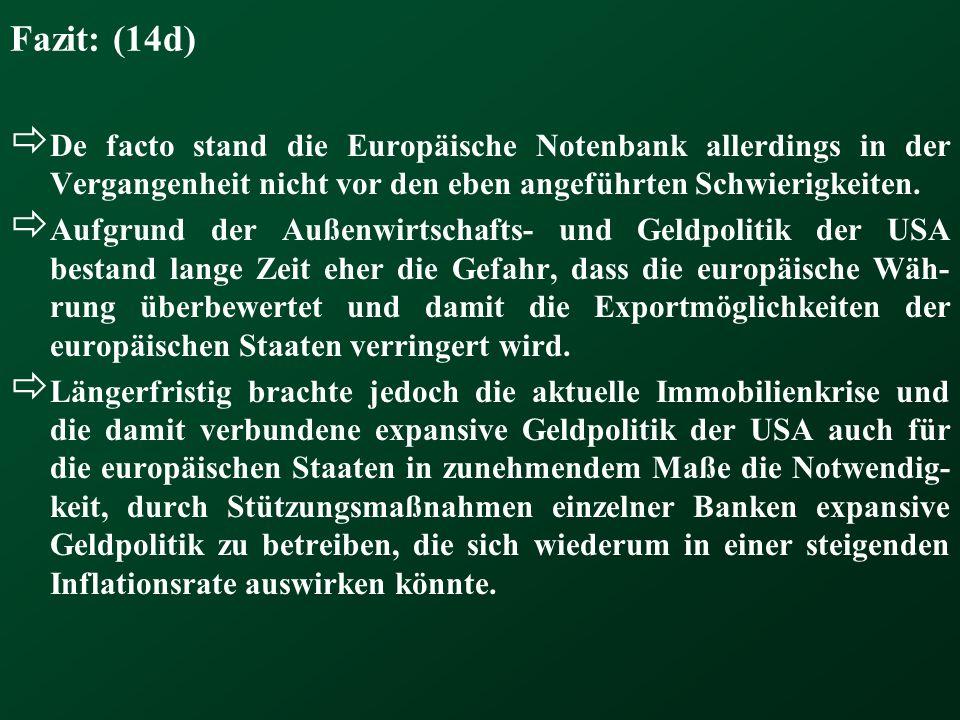 Fazit: (14d) De facto stand die Europäische Notenbank allerdings in der Vergangenheit nicht vor den eben angeführten Schwierigkeiten. Aufgrund der Auß