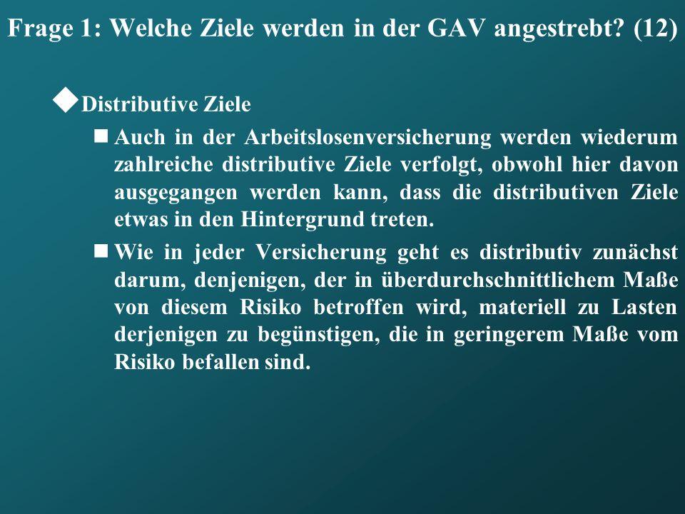 Frage 1: Welche Ziele werden in der GAV angestrebt? (12) Distributive Ziele Auch in der Arbeitslosenversicherung werden wiederum zahlreiche distributi