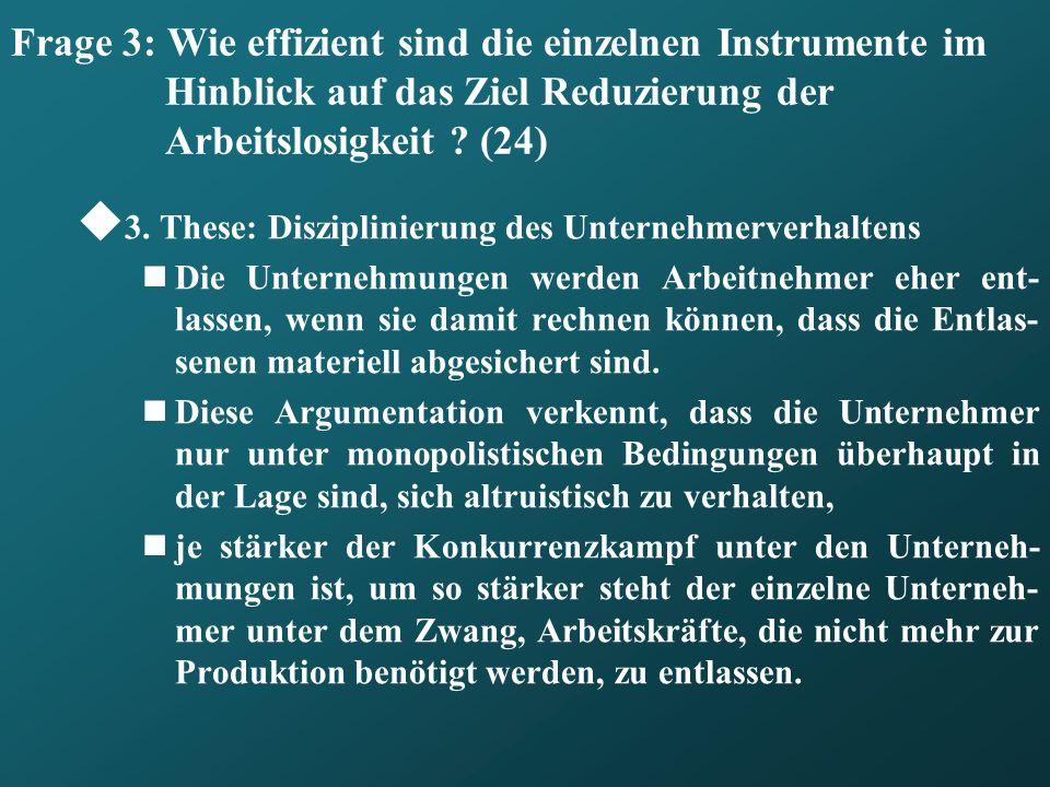 Frage 3: Wie effizient sind die einzelnen Instrumente im Hinblick auf das Ziel Reduzierung der Arbeitslosigkeit ? (24) 3. These: Disziplinierung des U