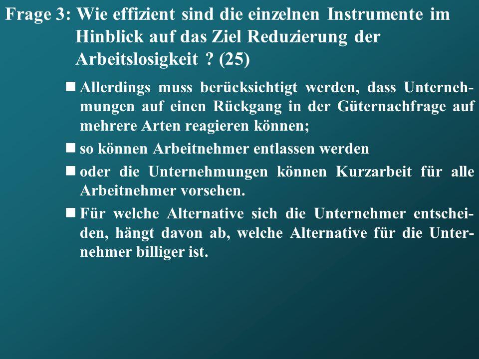 Frage 3: Wie effizient sind die einzelnen Instrumente im Hinblick auf das Ziel Reduzierung der Arbeitslosigkeit ? (25) Allerdings muss berücksichtigt
