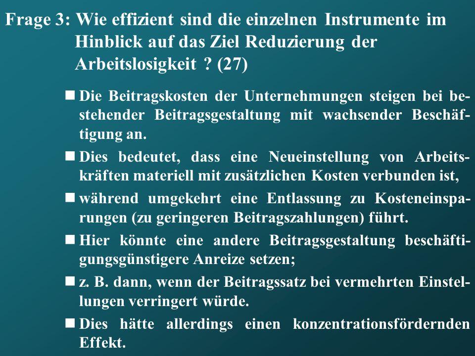 Frage 3: Wie effizient sind die einzelnen Instrumente im Hinblick auf das Ziel Reduzierung der Arbeitslosigkeit ? (27) Die Beitragskosten der Unterneh