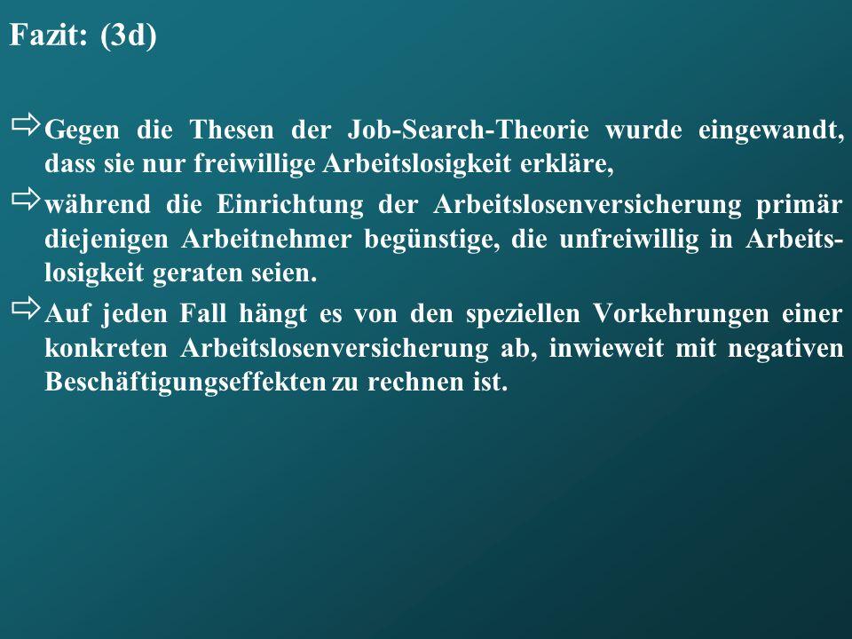 Fazit: (3d) Gegen die Thesen der Job-Search-Theorie wurde eingewandt, dass sie nur freiwillige Arbeitslosigkeit erkläre, während die Einrichtung der A
