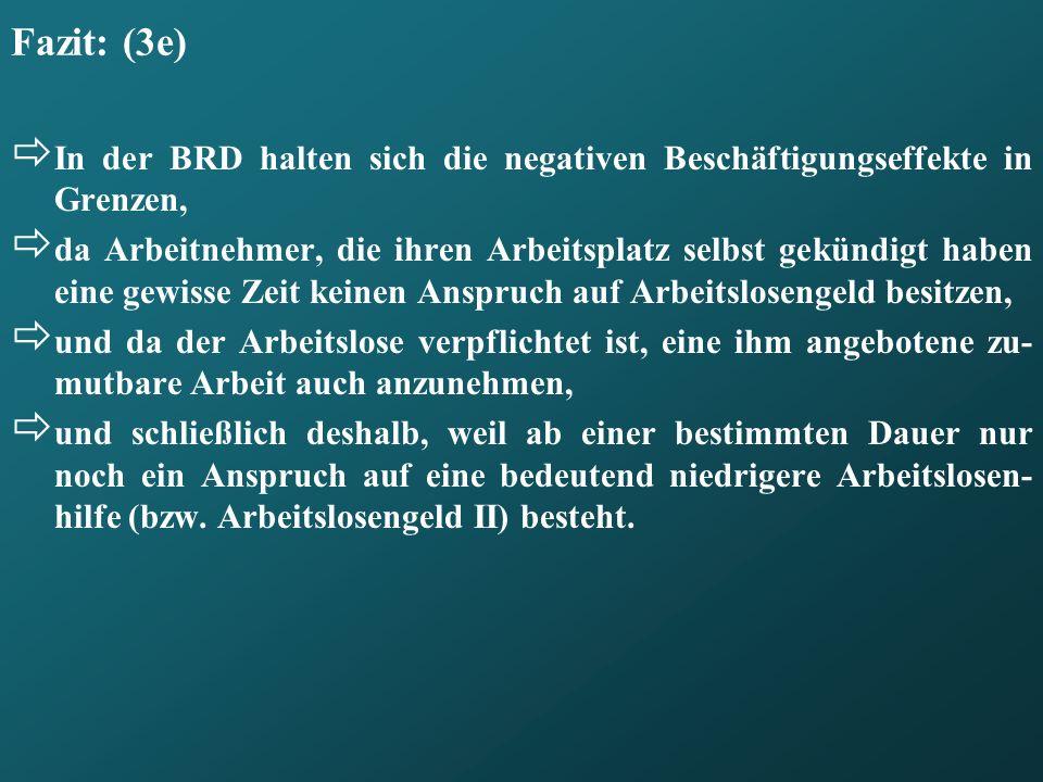 Fazit: (3e) In der BRD halten sich die negativen Beschäftigungseffekte in Grenzen, da Arbeitnehmer, die ihren Arbeitsplatz selbst gekündigt haben eine