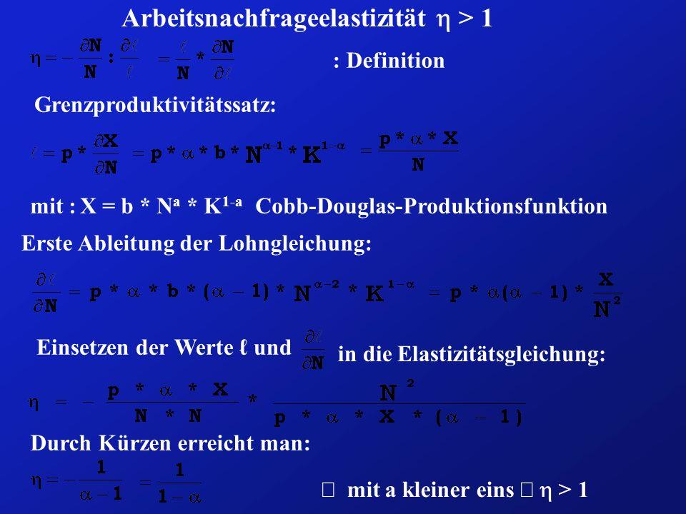 Arbeitsnachfrageelastizität > 1 : Definition Grenzproduktivitätssatz: mit : X = b * N a * K 1-a Cobb-Douglas-Produktionsfunktion Erste Ableitung der L