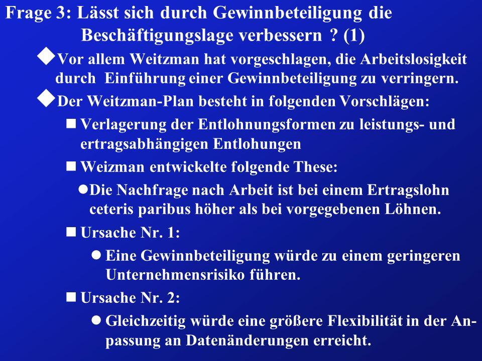 Frage 3: Lässt sich durch Gewinnbeteiligung die Beschäftigungslage verbessern ? (1) u Vor allem Weitzman hat vorgeschlagen, die Arbeitslosigkeit durch