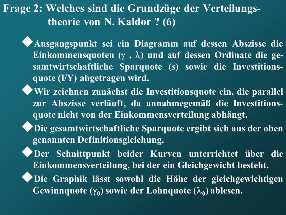 Frage 2: Welches sind die Grundzüge der Verteilungs- theorie von N. Kaldor ? (6) Ausgangspunkt sei ein Diagramm auf dessen Abszisse die Einkommensquot