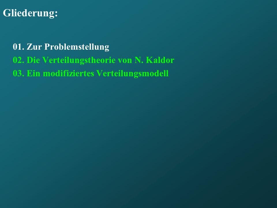 Gliederung: 01. Zur Problemstellung 02. Die Verteilungstheorie von N. Kaldor 03. Ein modifiziertes Verteilungsmodell