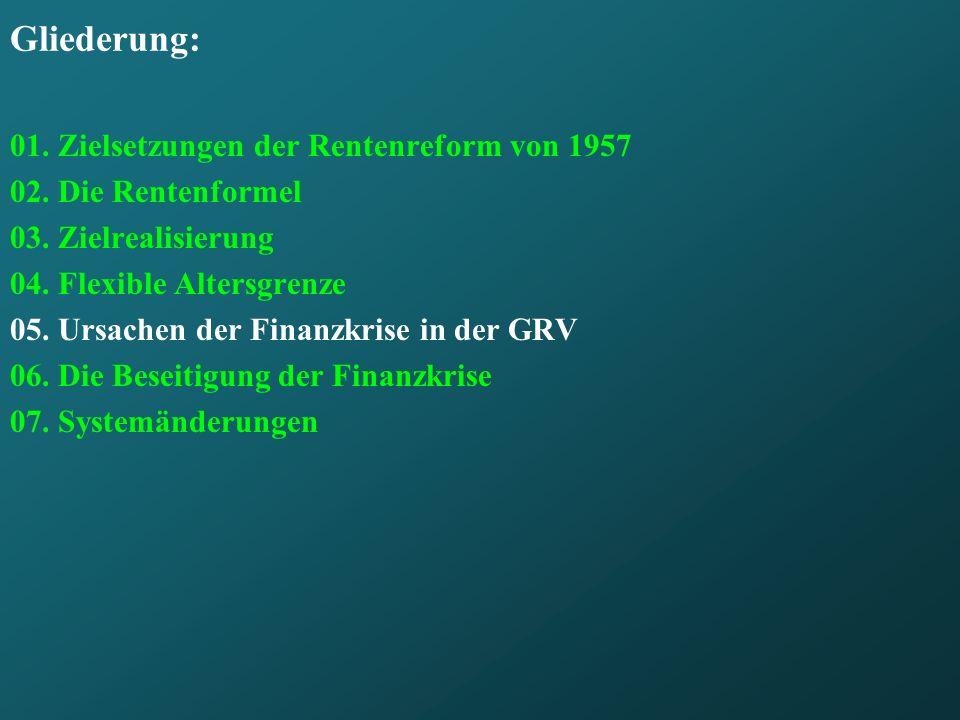 Gliederung: 01.Zielsetzungen der Rentenreform von 1957 02.