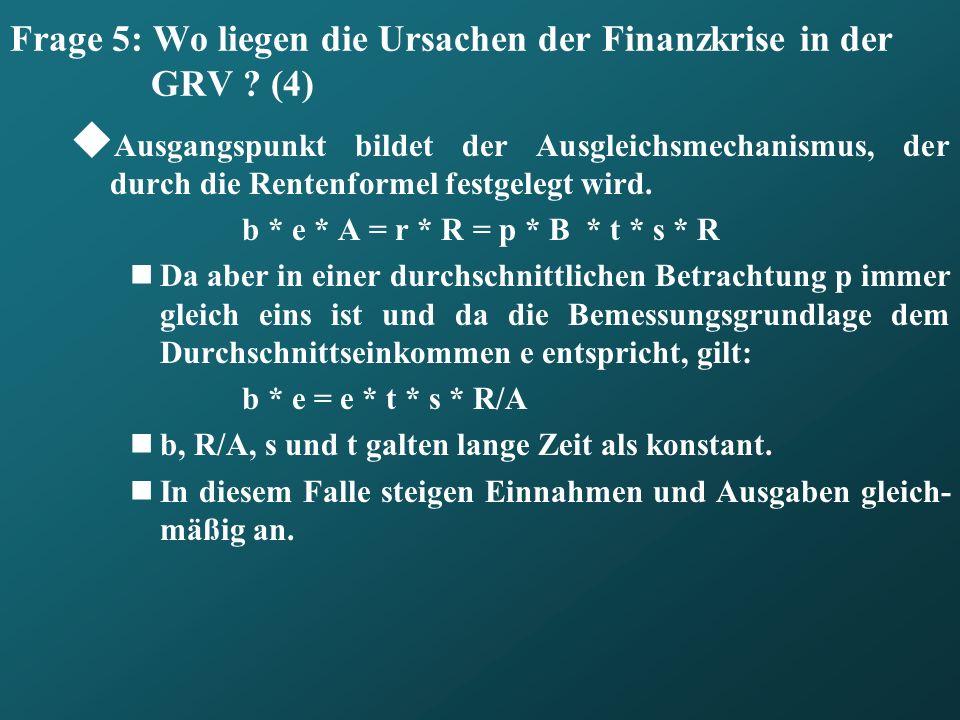 Frage 5: Wo liegen die Ursachen der Finanzkrise in der GRV ? (4) Ausgangspunkt bildet der Ausgleichsmechanismus, der durch die Rentenformel festgelegt