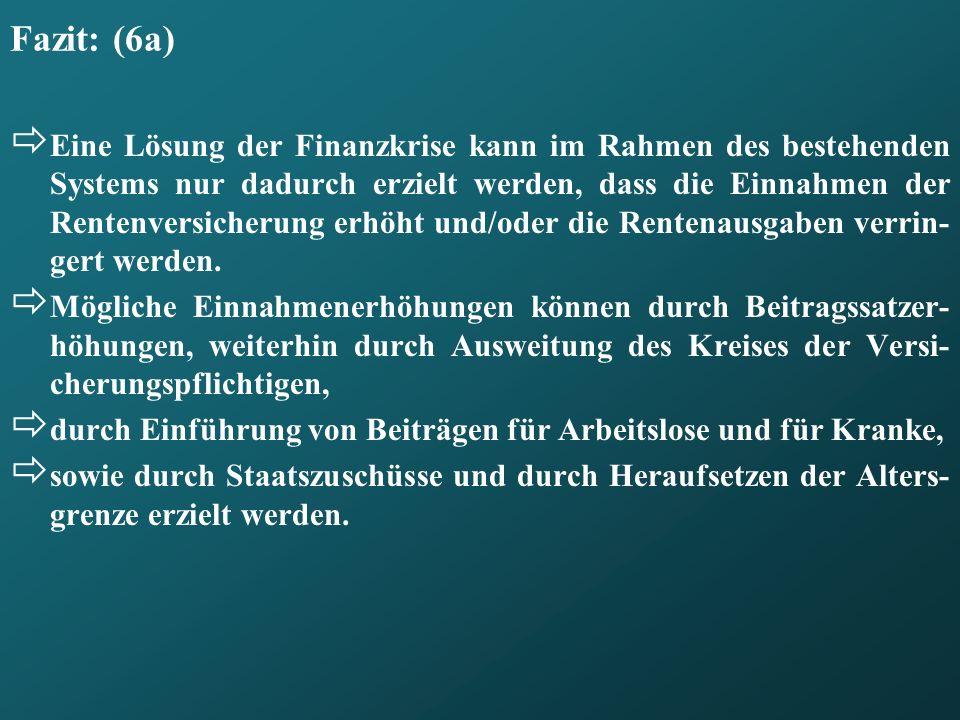 Fazit: (6a) Eine Lösung der Finanzkrise kann im Rahmen des bestehenden Systems nur dadurch erzielt werden, dass die Einnahmen der Rentenversicherung e