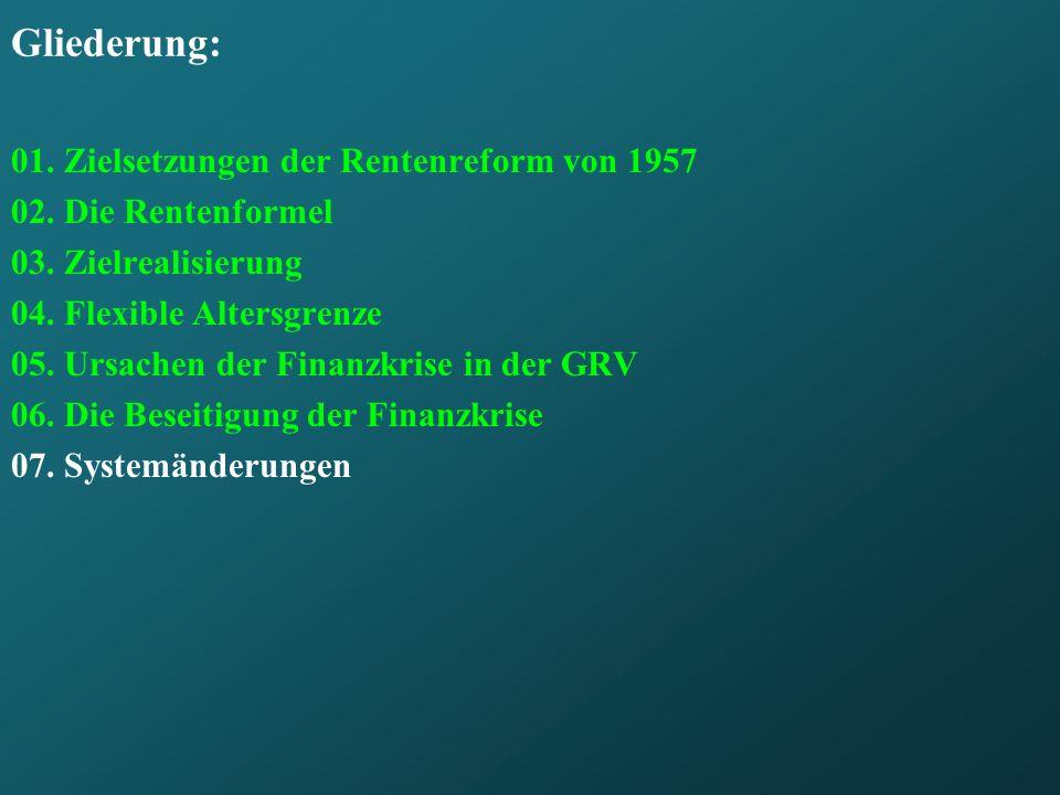 Gliederung: 01. Zielsetzungen der Rentenreform von 1957 02. Die Rentenformel 03. Zielrealisierung 04. Flexible Altersgrenze 05. Ursachen der Finanzkri