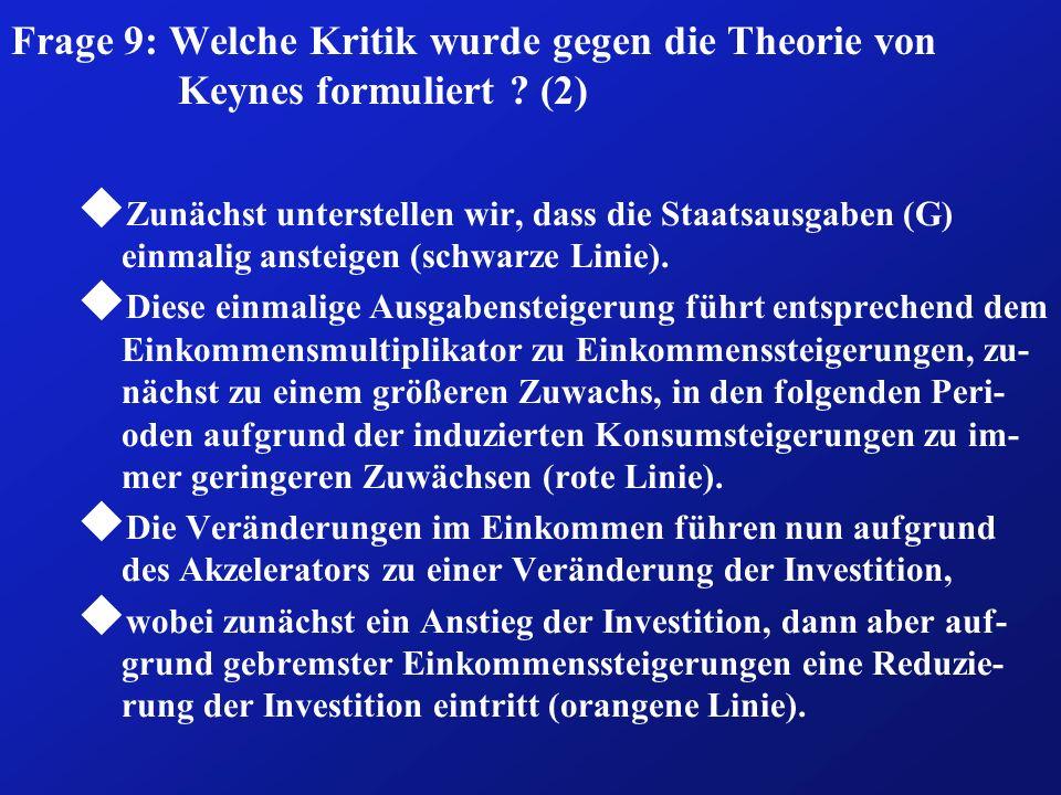 Frage 9: Welche Kritik wurde gegen die Theorie von Keynes formuliert ? (2) u Zunächst unterstellen wir, dass die Staatsausgaben (G) einmalig ansteigen